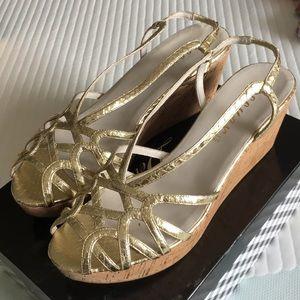 Delman wedge wedge sandal, gold.